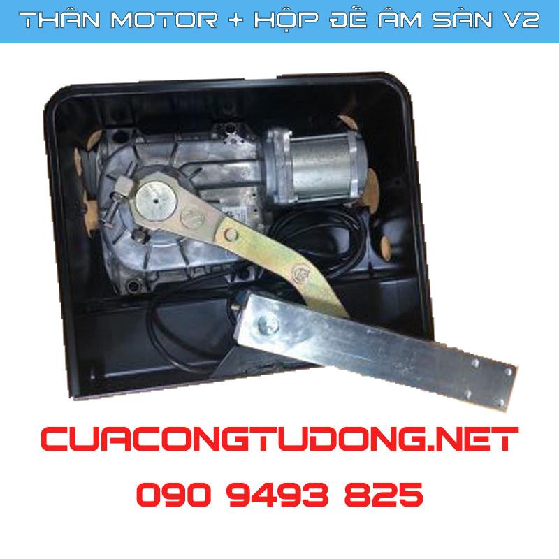 Motor Cửa Cổng Mở Cánh Âm Sàn V2 thực tế