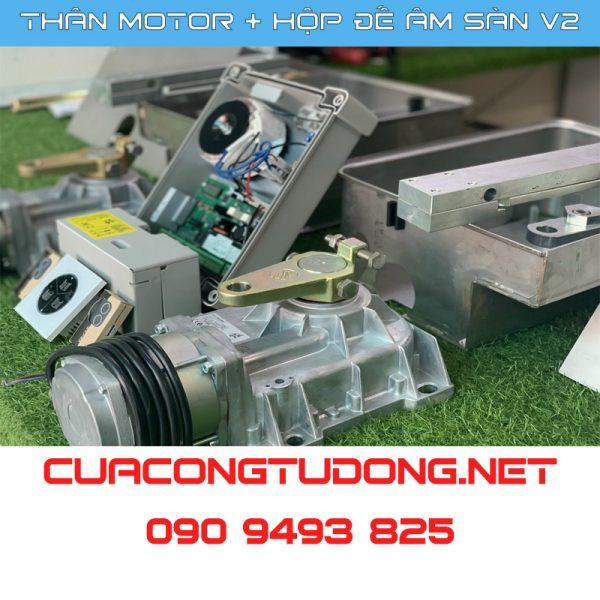 Bộ Motor - Điều Khiển Cửa Cổng Mở Cánh Âm Sàn V2 thực tế
